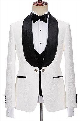 New Arrival White Jacquard Three Pieces Wedding Men Suits with Velvet Lapel