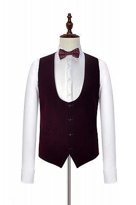 Velvet Shawl Collar White Wedding Tuxedos | Three Piece Wedding Suits with Burgundy Vest_4