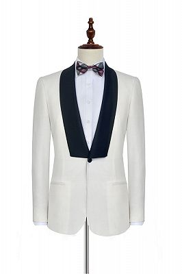 Black Knife Collar Classic White Wedding Suits for Men | One Button Wedding Tuxedos Cheap_3