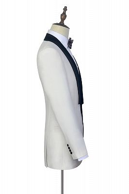 Black Knife Collar Classic White Wedding Suits for Men | One Button Wedding Tuxedos Cheap_5