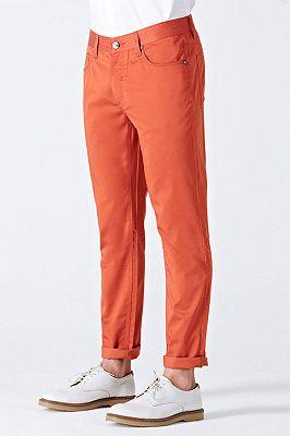 Dynamic Orange Cotton Fahionable Casual Pants for Men_2