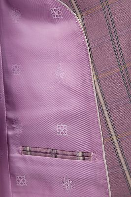 New Coming Plaid Pink Mens Suits with Flap Pocket_7