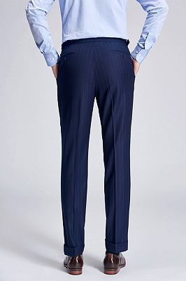 Gentlemanly Light Stripes Blue Pants for Formal Mens Suits_3