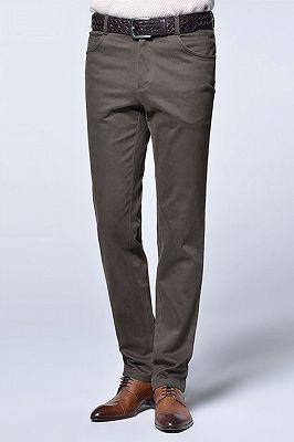 Brown Cotton Slim Fit Fashionable Casual Pants for Men_2