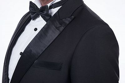 Popular Silk Peak Lapel Two Buttons Solid Black Wedding Suits for Men_6