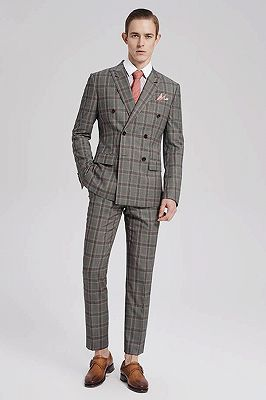 Custom Made Pink Checked Pattern Double Breasted Grey Mens Suits Sale for Business_1