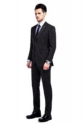 Tristen Modern Stripes Mens Leisure Suits   Black Suits for Prom_2