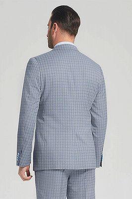 Casual Light Grey Suits for Men | Blue Grid Mens Leisure Suits Sale_3