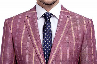 Modern Check Patten Red Purple Mens Suits_4