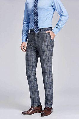 Keith Stylish Plaid Grey Formal Mens Suit Pants_2