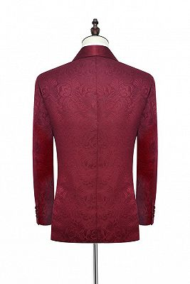 Luxury Burgundy Jacquard One Button Silk Shawl Lapel Mens Suits for Wedding and Prom_2