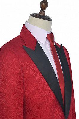 Bright Red Jacquard Peak Lapel with Black Silk Unique Mens Suits_5