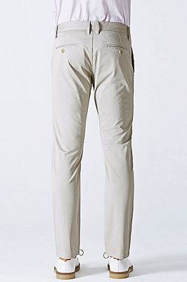 Simple Cotton Off-White Mens Casual Pants for Daily_3