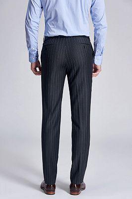 Gentlemanly Light Grey Stripes Straight Dark Grey Suit Pants for Men_3