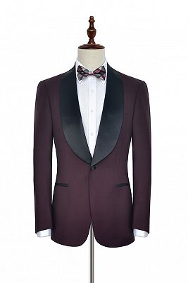 Luxury Black Shawl Collor One Button Wool Burgundy Wedding Suits for Men_1