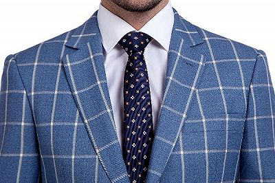 Light-colored Plaid Blue Fashionable Mens Suits for Formal_4