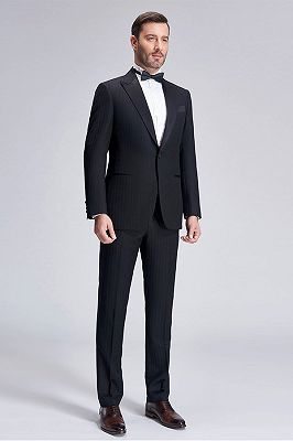 Popular Silk Peak Lapel Black Mens Suits for Wedding | One Button Stripes Cheap Wedding Tuxedo_3
