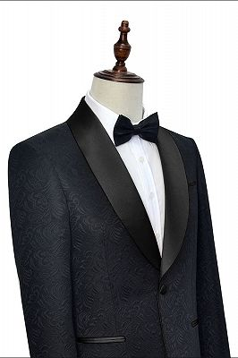 Classic Black Jacquard Wedding Tuxedo for Men | Shawl Lapel Silk One Button Wedding Suits_5