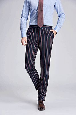 Red and Light-colored Stripes Dark Navy Modern Men's Pants_2