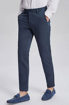 Dark Navy Cotton Fashionable Mens Casual Ninth Pants_2