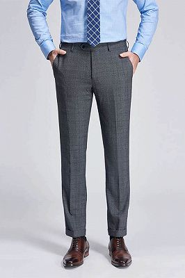 Check Pattern Modern Grey Pants for Business Suits_1