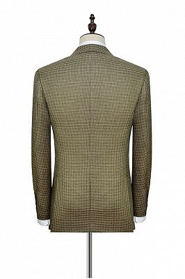Retro Small Checked Prom Suits Cheap | Knitted Button Black Peak Lapel Wedding Suits for Men_5