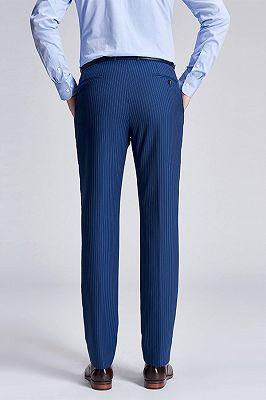 Stylish Pinstripes Blue Suit Pants for Men_3