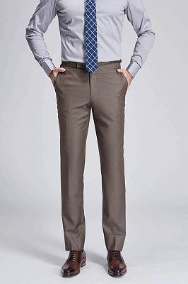 Jalen Formal Straight Solid Brown Casual Mens Pants_1