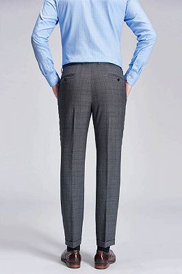 Check Pattern Modern Grey Pants for Business Suits_3