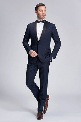 Gentle Blue Dots Shawl Lapel Wedding Tuxedos | Dark Navy Wedding Suits for Men_3