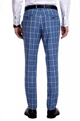 Light-colored Plaid Blue Fashionable Mens Suits for Formal_9