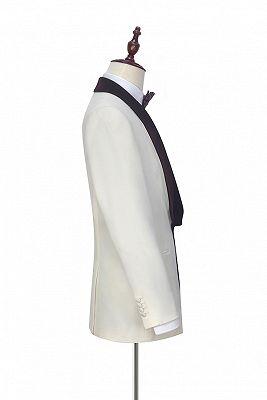 Velvet Shawl Collar White Wedding Tuxedos | Three Piece Wedding Suits with Burgundy Vest_5