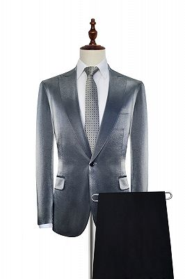 Shiny Silver Tailored Prom Suits Cheap | Glittering Peak Lapel Custom Suits for Men_2
