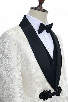 Stylish Knitted Button Black Shawl Lapel Three Piece White Jacquard Wedding Tuxedo for Men_3