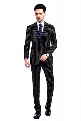 Tristen Modern Stripes Mens Leisure Suits   Black Suits for Prom_1