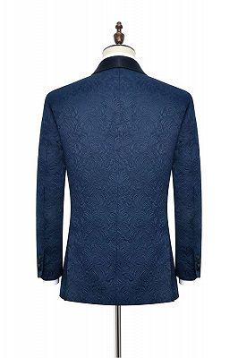 Bennett Navy Blue Mens Suits for Weddings | Jacquard Black Silk Shawl Lapel Prom Suits_2