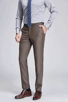 Jalen Formal Straight Solid Brown Casual Mens Pants_2