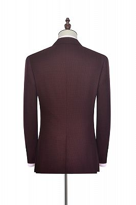 Peak Lapel Burgundy Suits for Men | One Button Business Suits for Formal_3