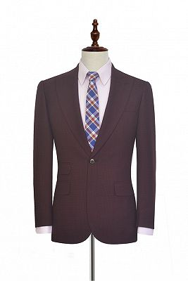 Peak Lapel Burgundy Suits for Men | One Button Business Suits for Formal_1