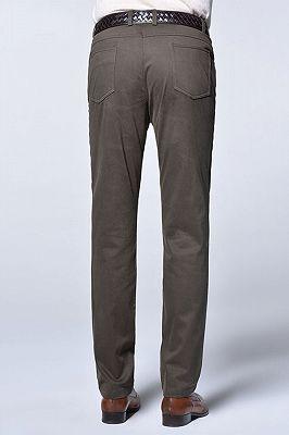 Brown Cotton Slim Fit Fashionable Casual Pants for Men_4