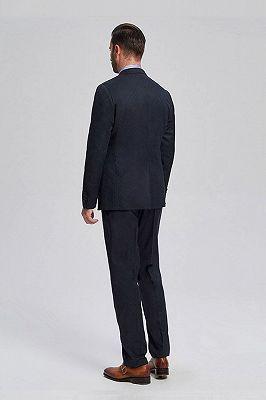 Brett Elegant Navy Blue Jacquard Mens Suits for Business_3