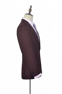 Peak Lapel Burgundy Suits for Men | One Button Business Suits for Formal_2