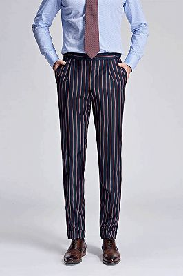 Red and Light-colored Stripes Dark Navy Modern Men's Pants_1