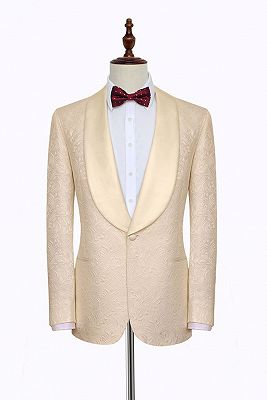 Noble Champagne Jacquard Wedding Tuxedos for Groom | Silk Shawl Lapel Cheap Prom Suits_1