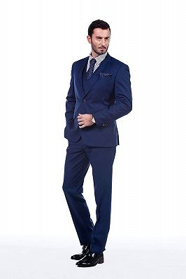 Premium Peak Lapel Navy Blue Three Piece Suits for Men with Double Breasted Vest_2