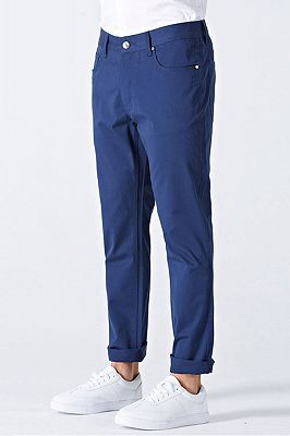 Modern Curl-Up Blue Cotton Solid Mens Ninth Pants for Leisure Suits_3