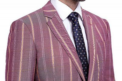 Modern Check Patten Red Purple Mens Suits_5