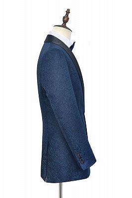 Bennett Navy Blue Mens Suits for Weddings | Jacquard Black Silk Shawl Lapel Prom Suits_3