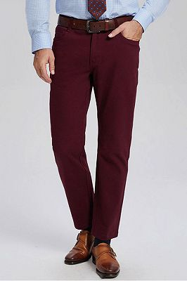 Classic Burgundy Cotton Straight Mens Daily Pants for Business_1