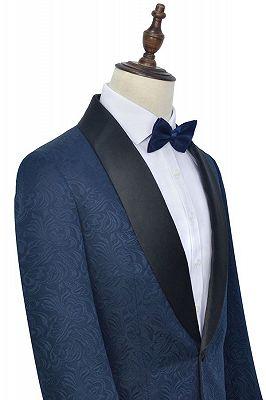 Bennett Navy Blue Mens Suits for Weddings | Jacquard Black Silk Shawl Lapel Prom Suits_4